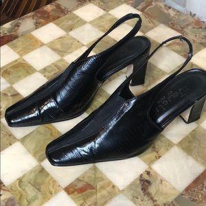 Black Faux Leather Sling Back Heels by JEWELS
